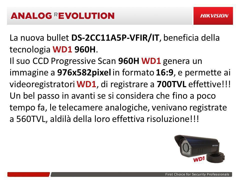 La nuova bullet DS-2CC11A5P-VFIR/IT, beneficia della tecnologia WD1 960H.
