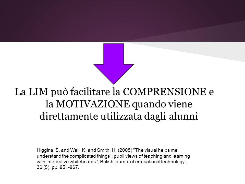 La LIM può facilitare la COMPRENSIONE e la MOTIVAZIONE quando viene direttamente utilizzata dagli alunni