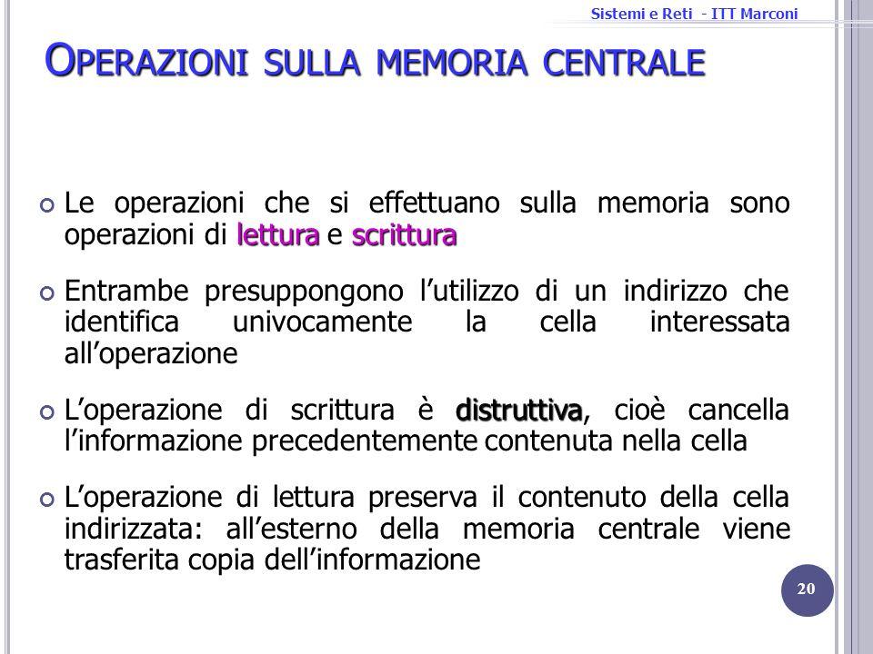 Operazioni sulla memoria centrale