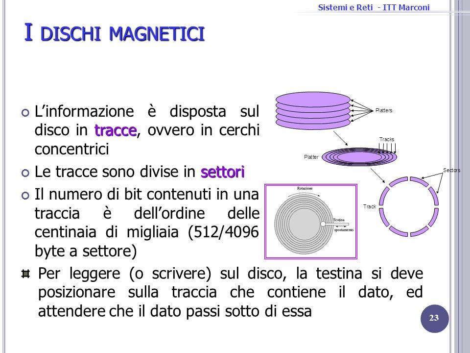 I dischi magnetici L'informazione è disposta sul disco in tracce, ovvero in cerchi concentrici. Le tracce sono divise in settori.