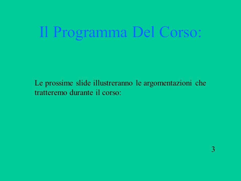 Il Programma Del Corso: