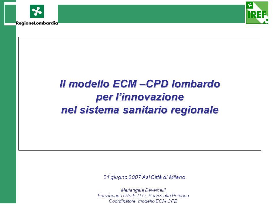 Il modello ECM –CPD lombardo nel sistema sanitario regionale