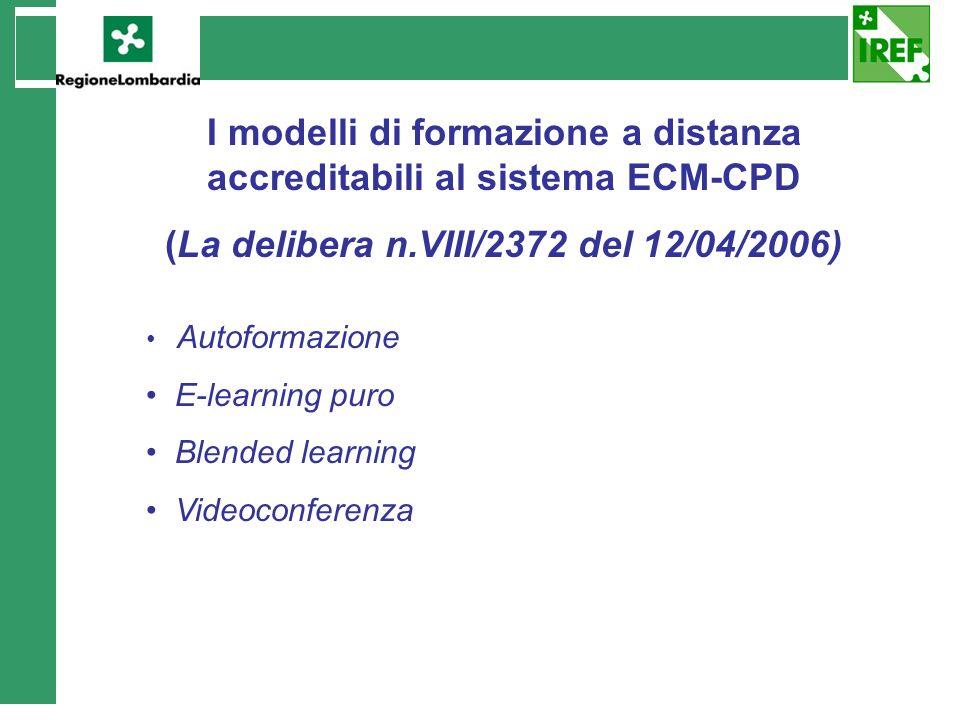 I modelli di formazione a distanza accreditabili al sistema ECM-CPD