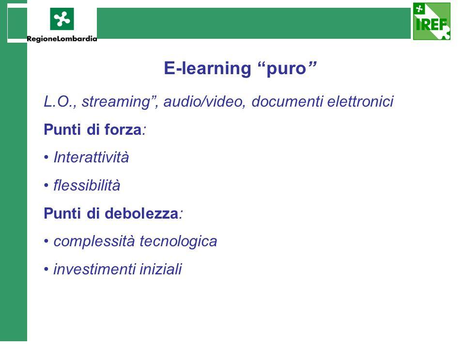 E-learning puro L.O., streaming , audio/video, documenti elettronici
