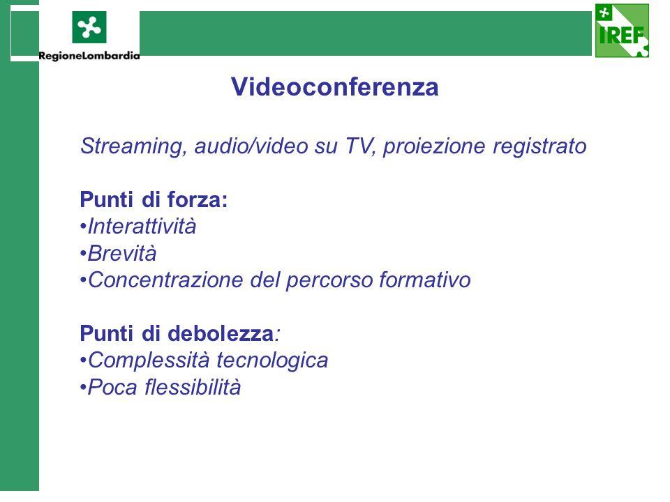 Videoconferenza Streaming, audio/video su TV, proiezione registrato