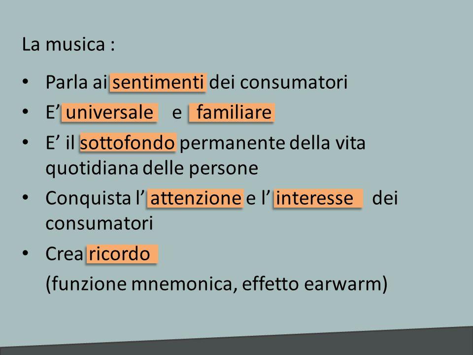 La musica : Parla ai sentimenti dei consumatori. E' universale e familiare. E' il sottofondo permanente della vita quotidiana delle persone.