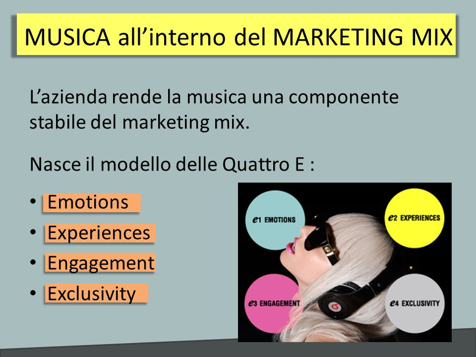 MUSICA all'interno del MARKETING MIX