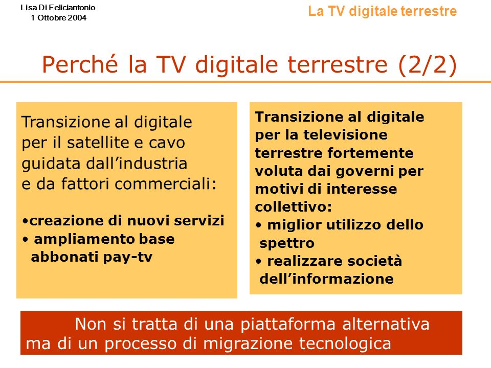 Perché la TV digitale terrestre (2/2)