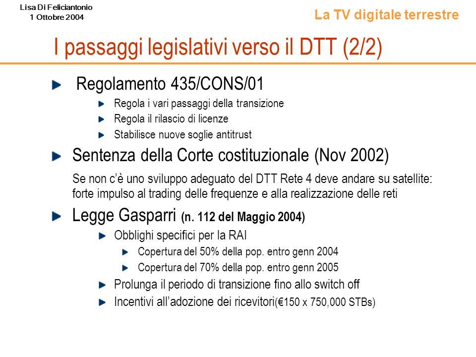 I passaggi legislativi verso il DTT (2/2)