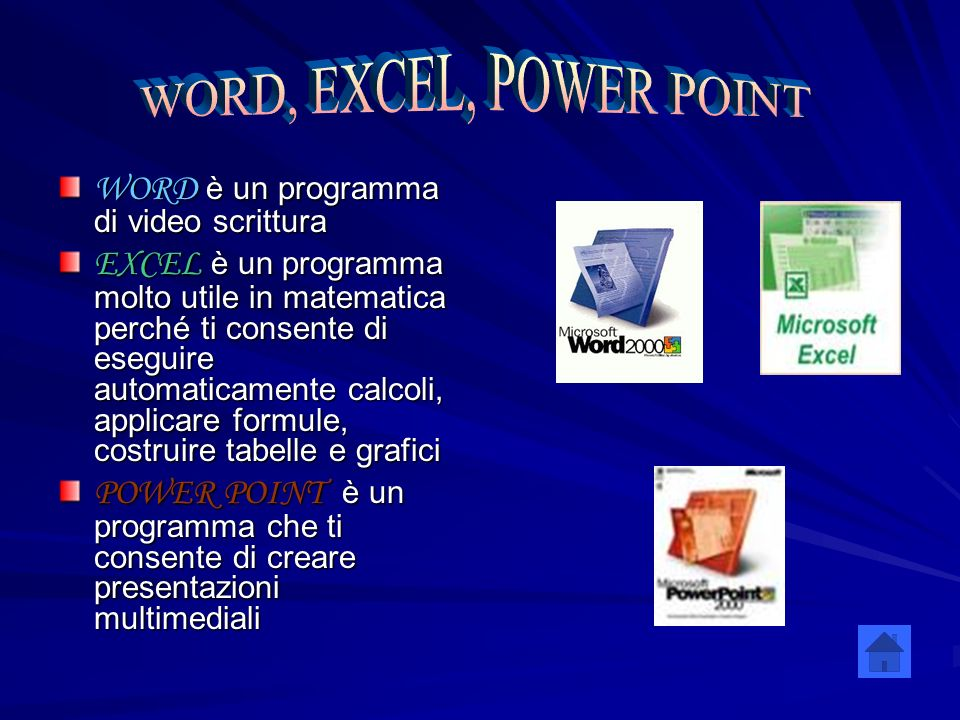 WORD, EXCEL, POWER POINT WORD è un programma di video scrittura