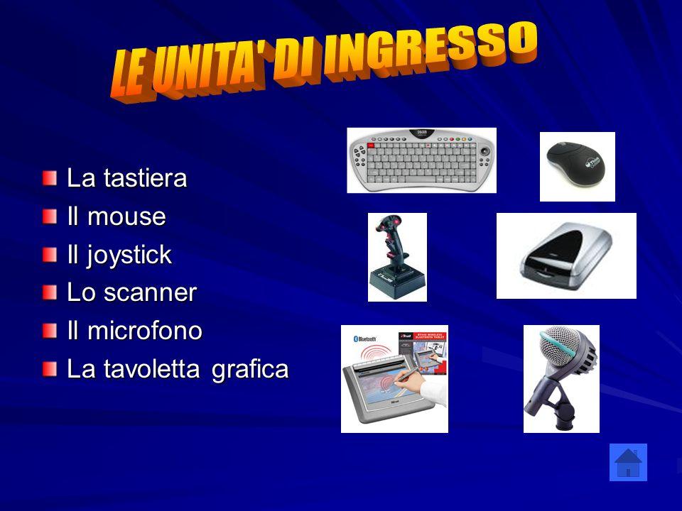 LE UNITA DI INGRESSO La tastiera Il mouse Il joystick Lo scanner