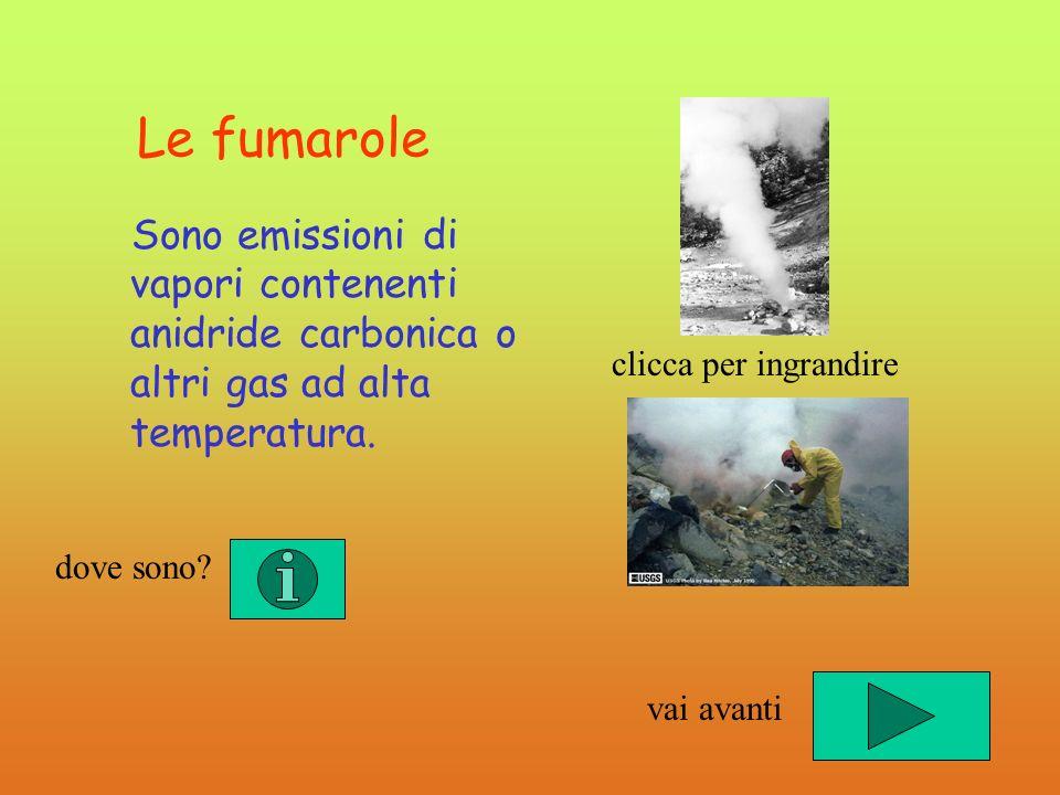 Le fumarole Sono emissioni di vapori contenenti anidride carbonica o altri gas ad alta temperatura.