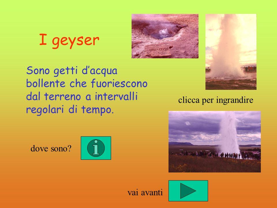 I geyser Sono getti d'acqua bollente che fuoriescono dal terreno a intervalli regolari di tempo. clicca per ingrandire.