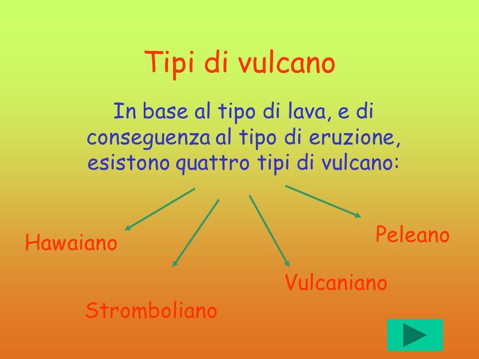 Tipi di vulcano In base al tipo di lava, e di conseguenza al tipo di eruzione, esistono quattro tipi di vulcano: