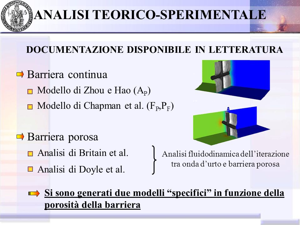 ANALISI TEORICO-SPERIMENTALE DOCUMENTAZIONE DISPONIBILE IN LETTERATURA