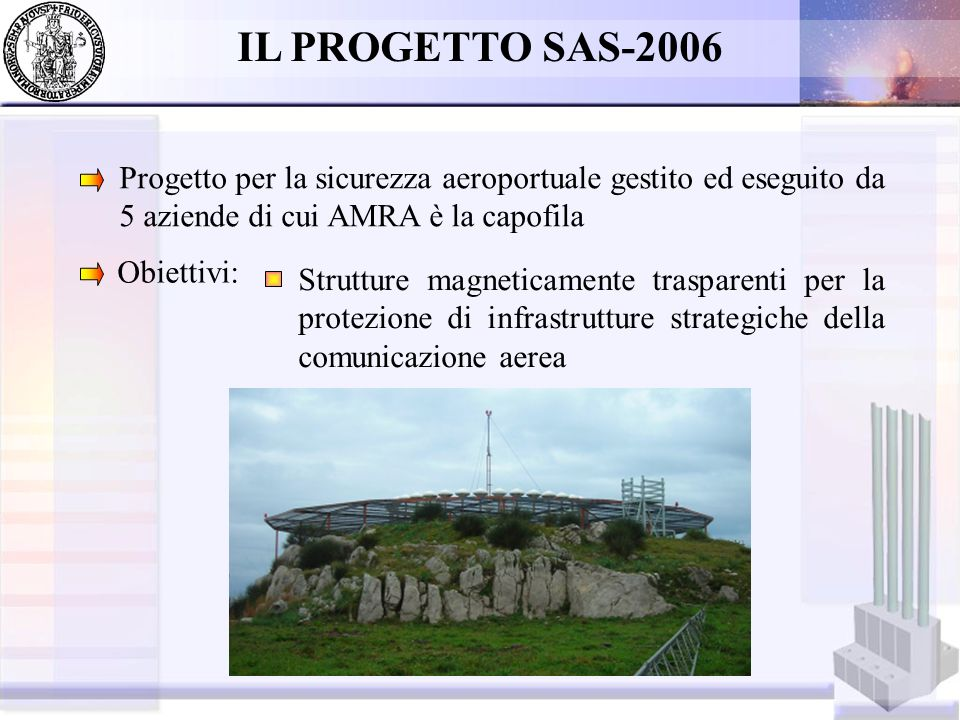 IL PROGETTO SAS-2006 Progetto per la sicurezza aeroportuale gestito ed eseguito da 5 aziende di cui AMRA è la capofila.