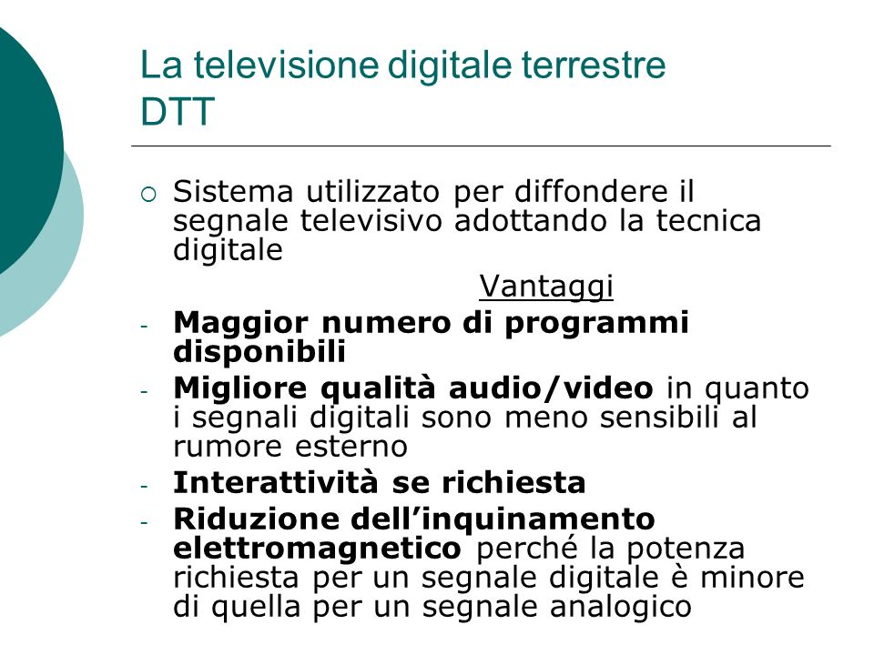 La televisione digitale terrestre DTT