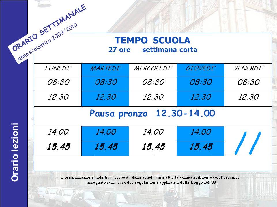 // TEMPO SCUOLA Pausa pranzo 12.30-14.00 Orario lezioni 08:30 12.30
