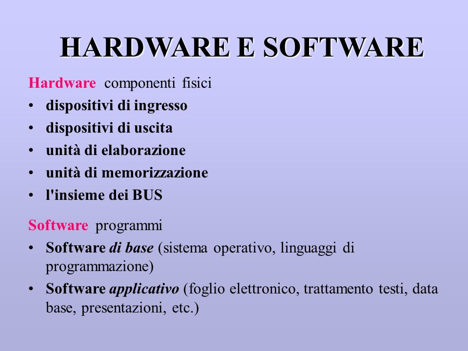 HARDWARE E SOFTWARE Hardware componenti fisici dispositivi di ingresso