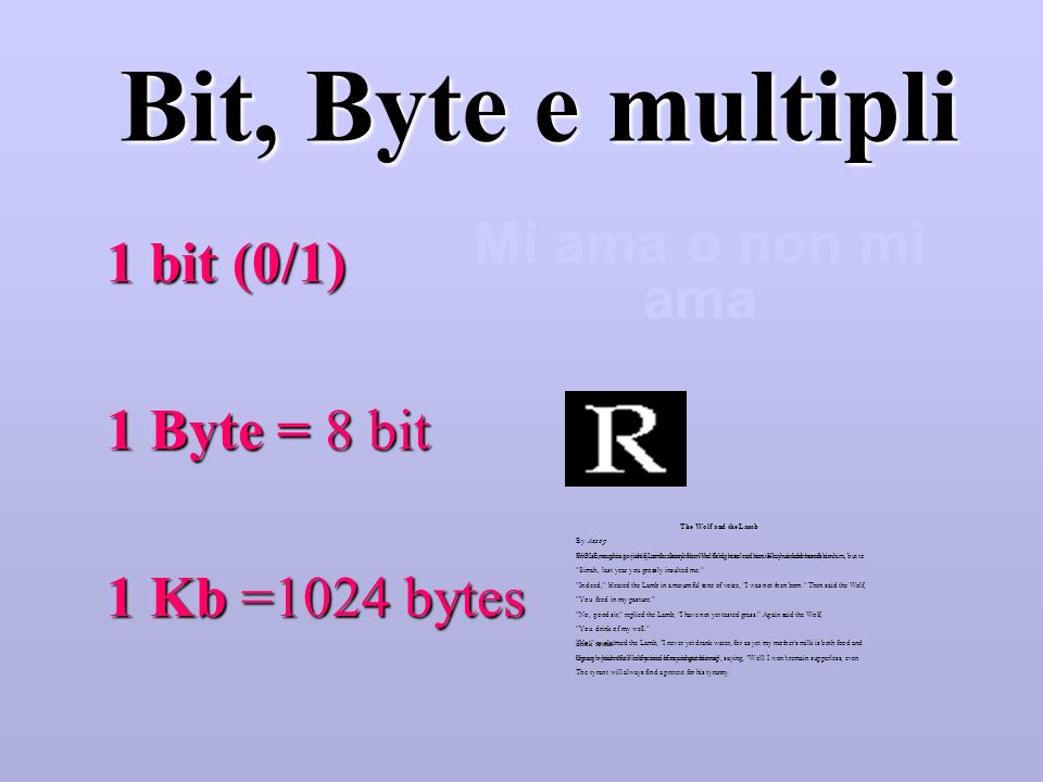 Bit, Byte e multipli 1 bit (0/1) 1 Byte = 8 bit Mi ama o non mi ama