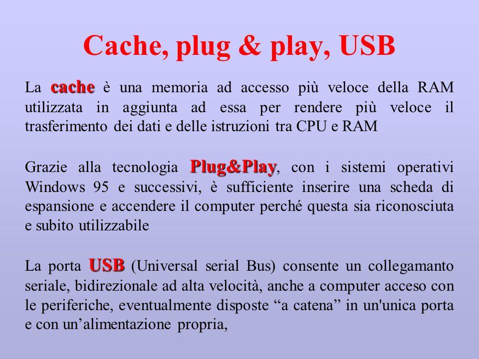 Cache, plug & play, USB