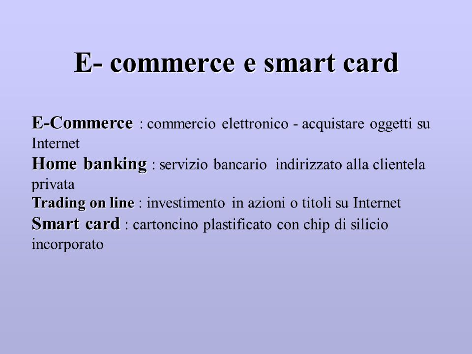 E- commerce e smart card