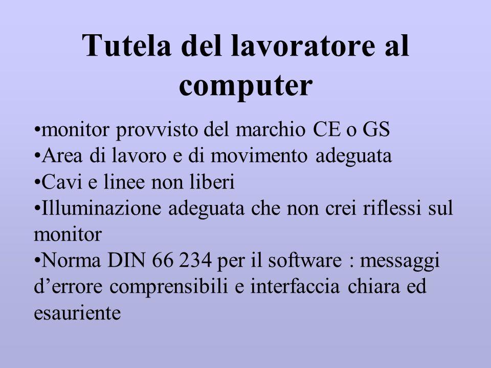 Tutela del lavoratore al computer