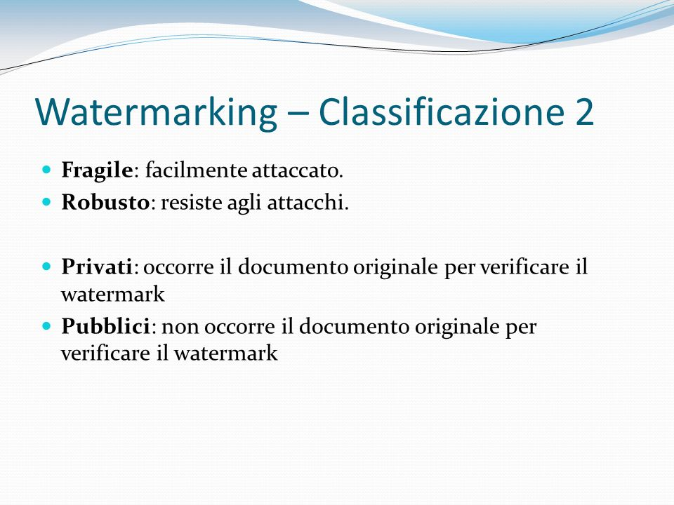 Watermarking – Classificazione 2