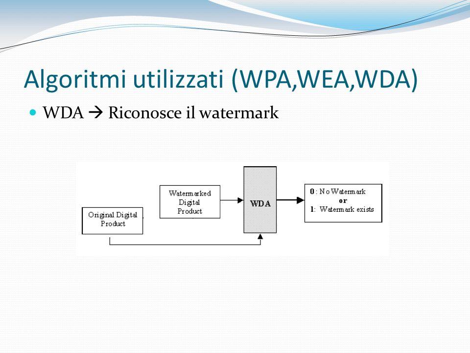 Algoritmi utilizzati (WPA,WEA,WDA)