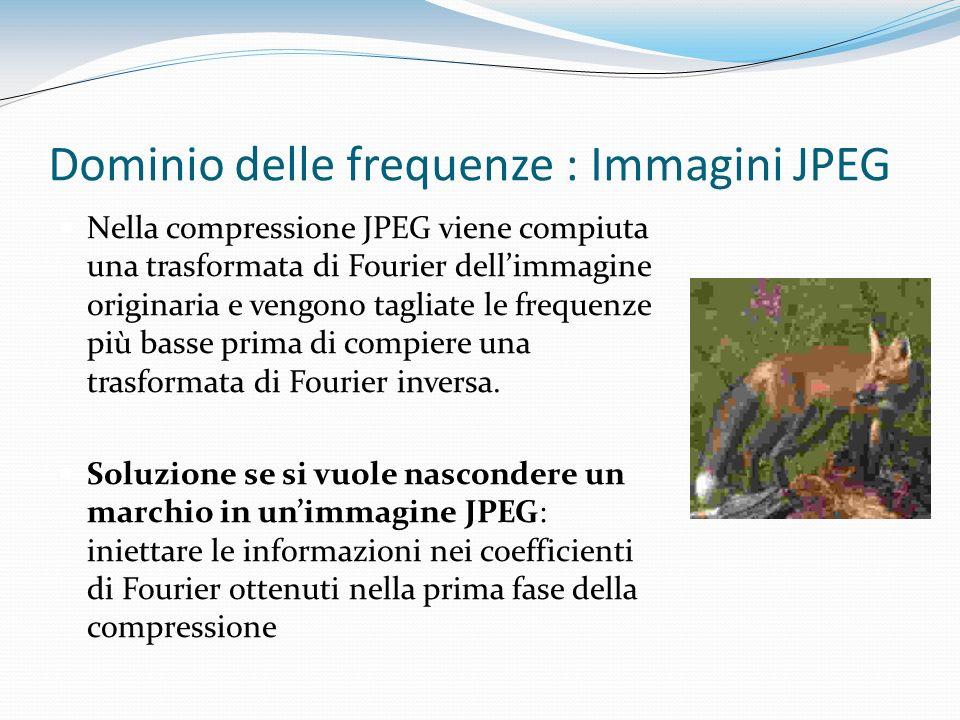 Dominio delle frequenze : Immagini JPEG