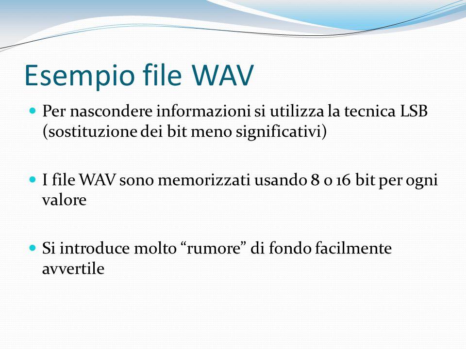 Esempio file WAV Per nascondere informazioni si utilizza la tecnica LSB (sostituzione dei bit meno significativi)