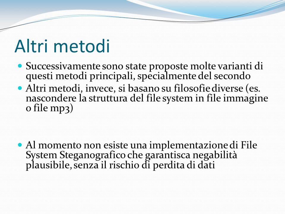 Altri metodi Successivamente sono state proposte molte varianti di questi metodi principali, specialmente del secondo.