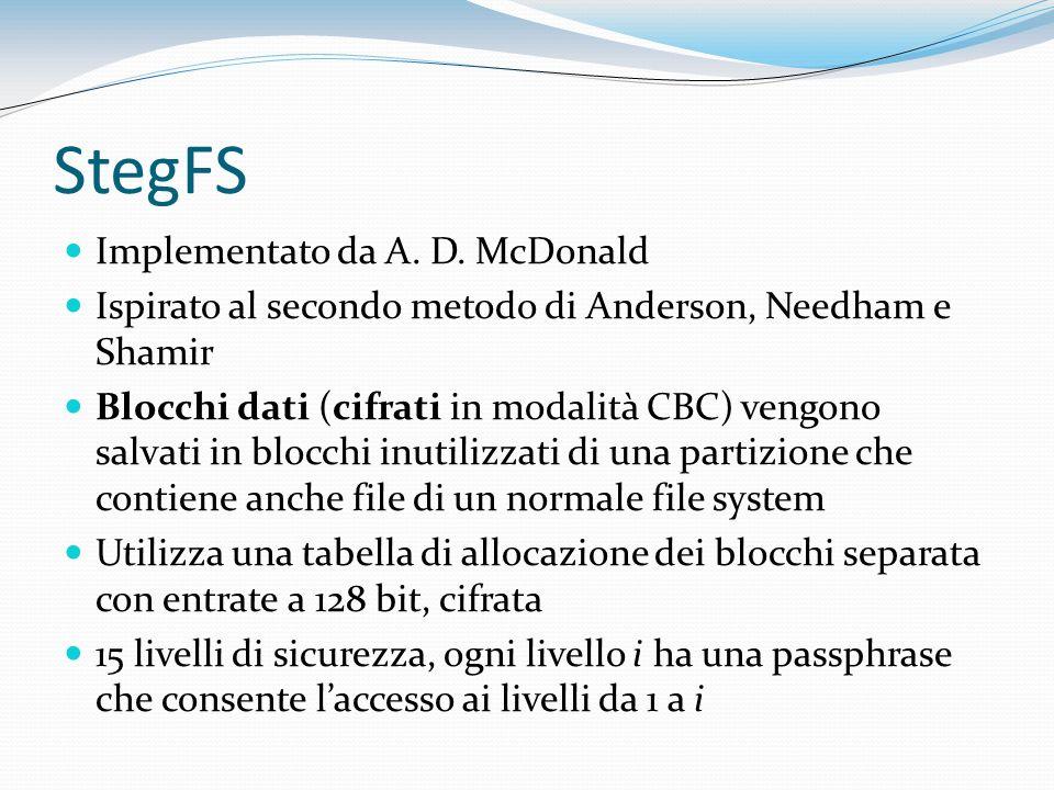 StegFS Implementato da A. D. McDonald