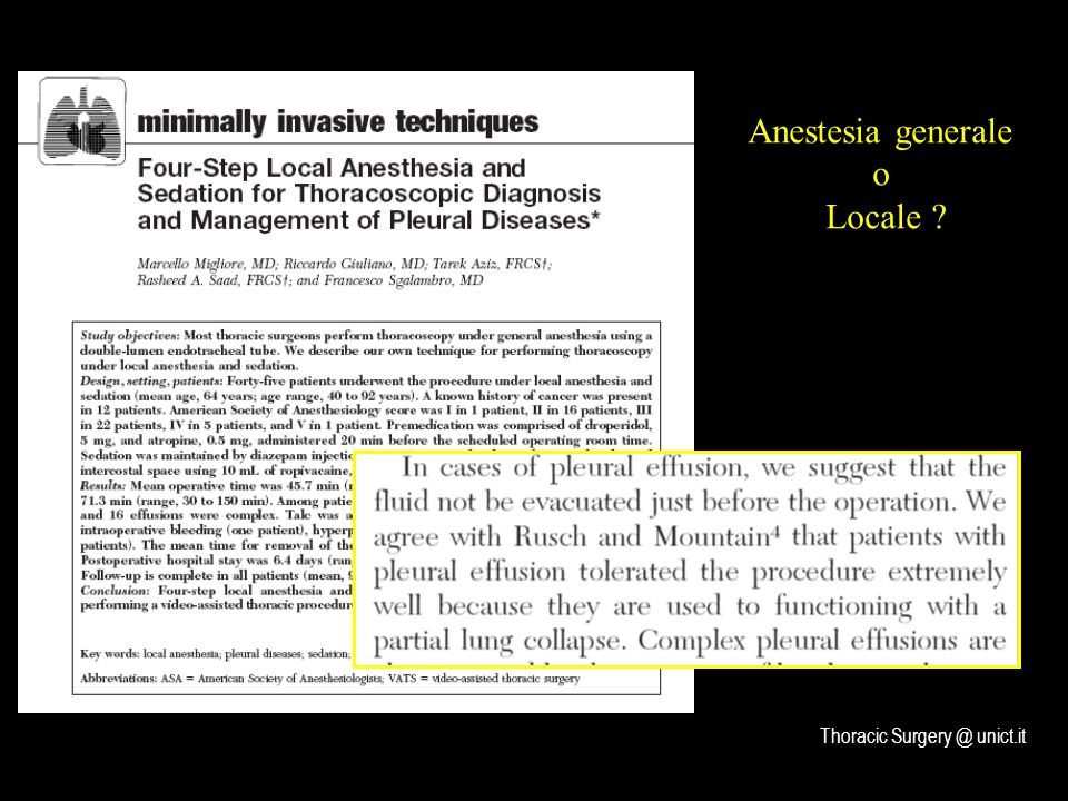 Anestesia generale o Locale Thoracic Surgery @ unict.it
