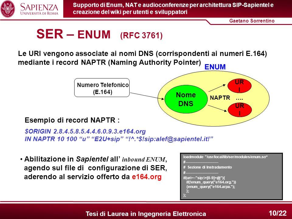 Supporto di Enum, NAT e audioconferenze per architettura SIP-Sapientel e