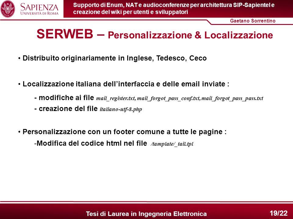 SERWEB – Personalizzazione & Localizzazione