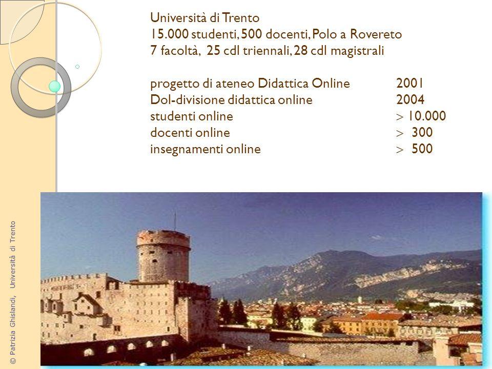 Università di Trento15.000 studenti, 500 docenti, Polo a Rovereto. 7 facoltà, 25 cdl triennali, 28 cdl magistrali.