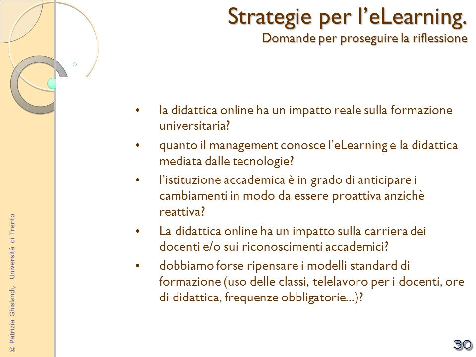 Strategie per l'eLearning. Domande per proseguire la riflessione