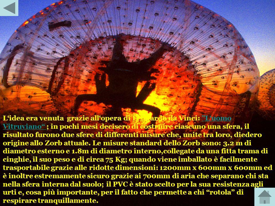 L'idea era venuta grazie all'opera di Leonardo da Vinci: ''L'uomo Vitruviano ; in pochi mesi decisero di costruire ciascuno una sfera, il risultato furono due sfere di differenti misure che, unite tra loro, diedero origine allo Zorb attuale.