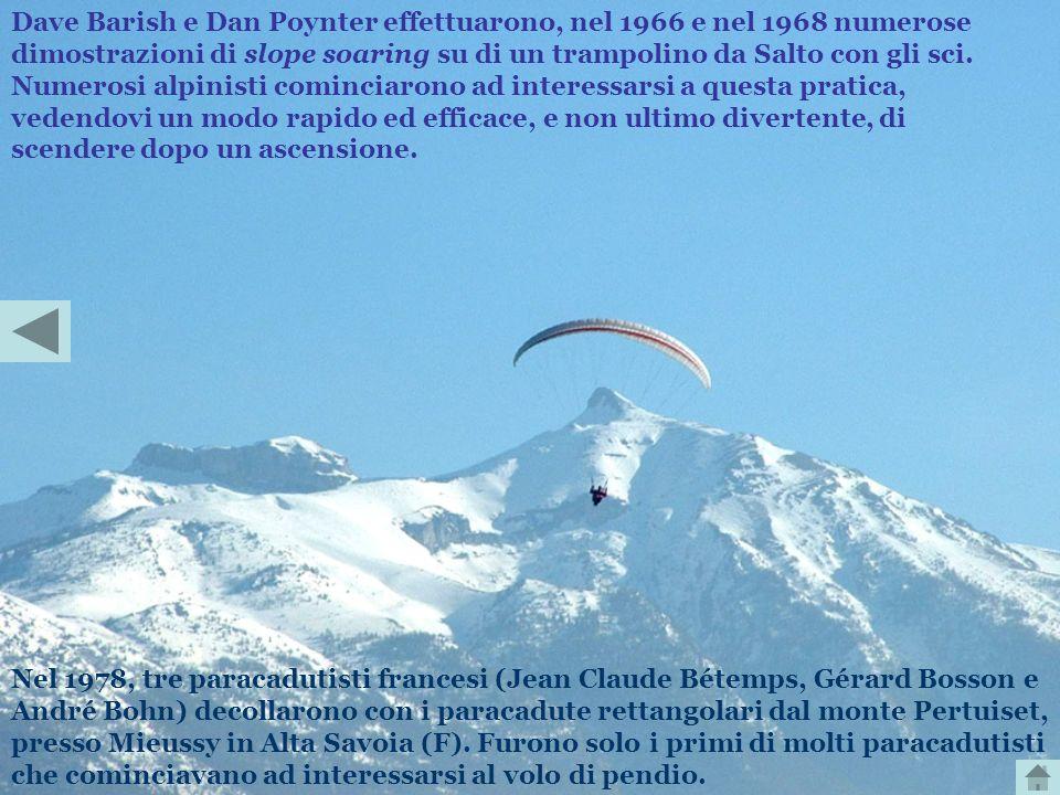 Dave Barish e Dan Poynter effettuarono, nel 1966 e nel 1968 numerose dimostrazioni di slope soaring su di un trampolino da Salto con gli sci. Numerosi alpinisti cominciarono ad interessarsi a questa pratica, vedendovi un modo rapido ed efficace, e non ultimo divertente, di scendere dopo un ascensione.