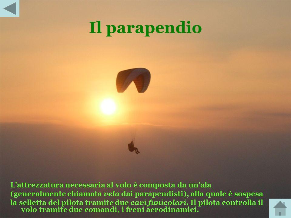 Il parapendio L attrezzatura necessaria al volo è composta da un ala