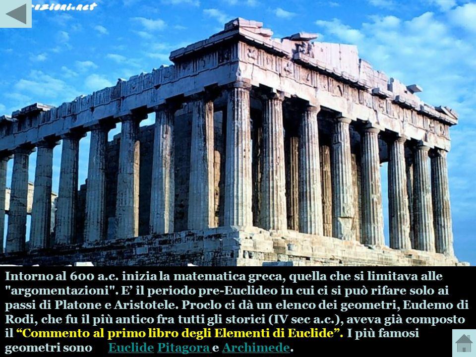 Intorno al 600 a.c. inizia la matematica greca, quella che si limitava alle argomentazioni .