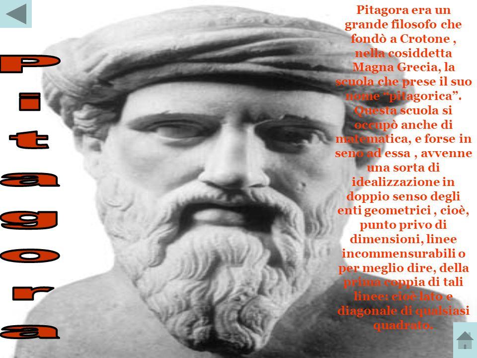 Pitagora era un grande filosofo che fondò a Crotone , nella cosiddetta Magna Grecia, la scuola che prese il suo nome pitagorica . Questa scuola si occupò anche di matematica, e forse in seno ad essa , avvenne una sorta di idealizzazione in doppio senso degli enti geometrici , cioè, punto privo di dimensioni, linee incommensurabili o per meglio dire, della prima coppia di tali linee: cioè lato e diagonale di qualsiasi quadrato.