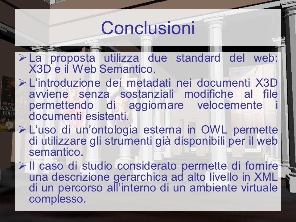 Conclusioni La proposta utilizza due standard del web: X3D e il Web Semantico.