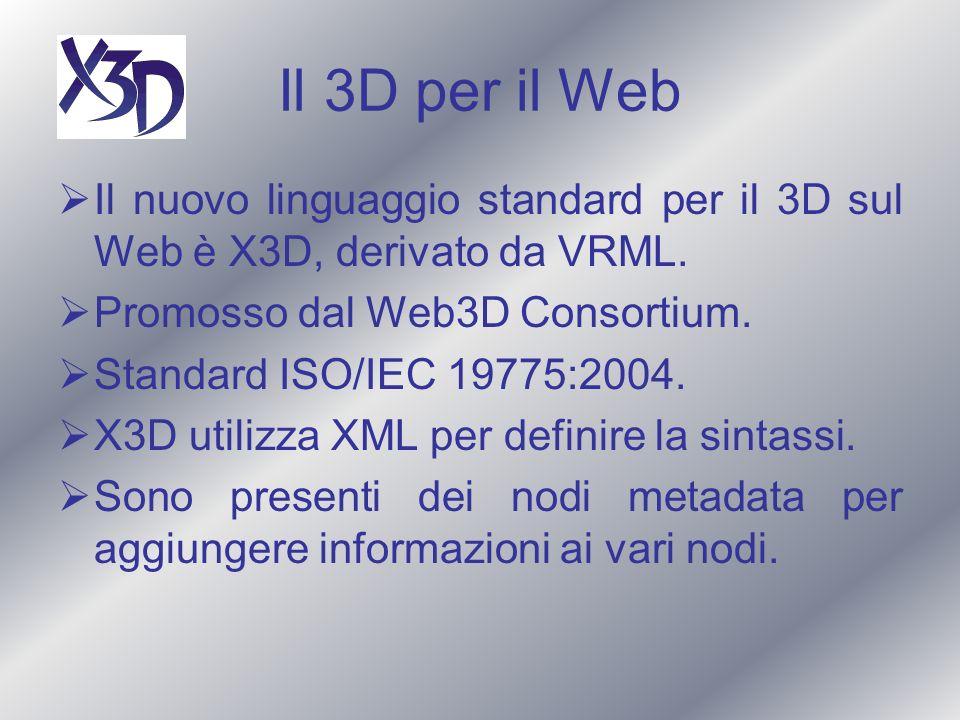 Il 3D per il Web Il nuovo linguaggio standard per il 3D sul Web è X3D, derivato da VRML. Promosso dal Web3D Consortium.
