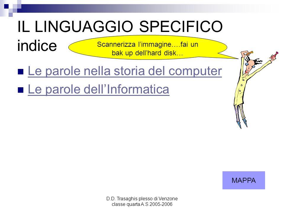 IL LINGUAGGIO SPECIFICO indice