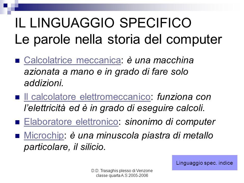 IL LINGUAGGIO SPECIFICO Le parole nella storia del computer