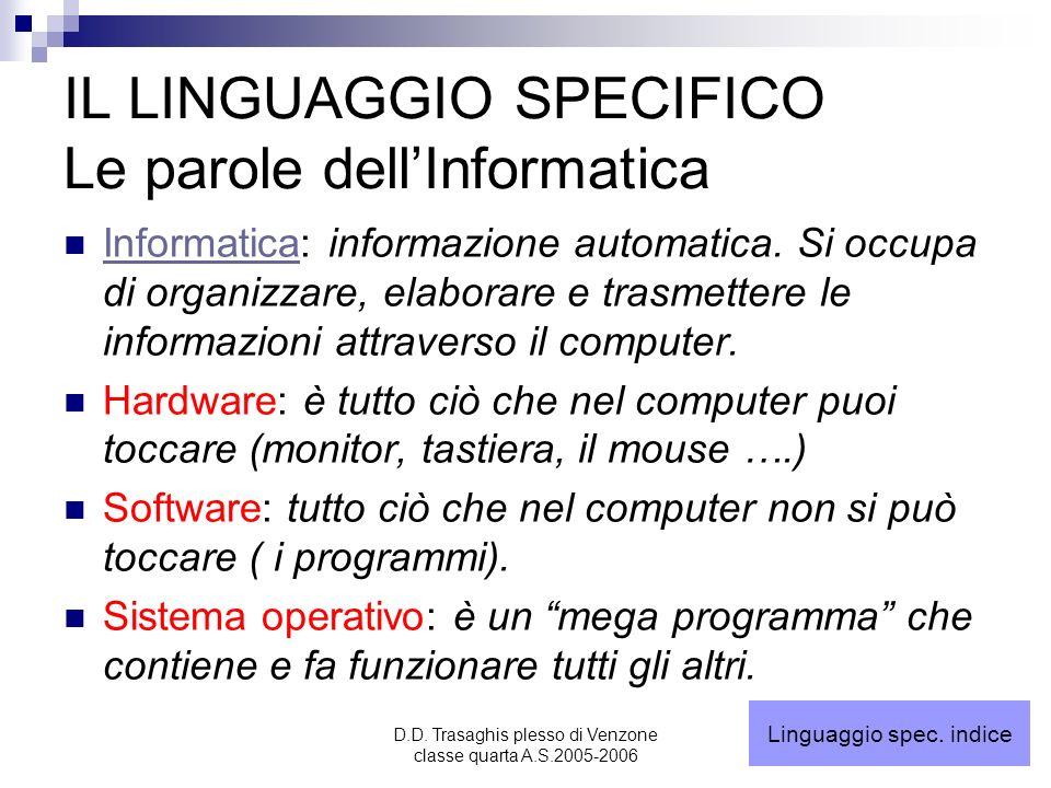 IL LINGUAGGIO SPECIFICO Le parole dell'Informatica