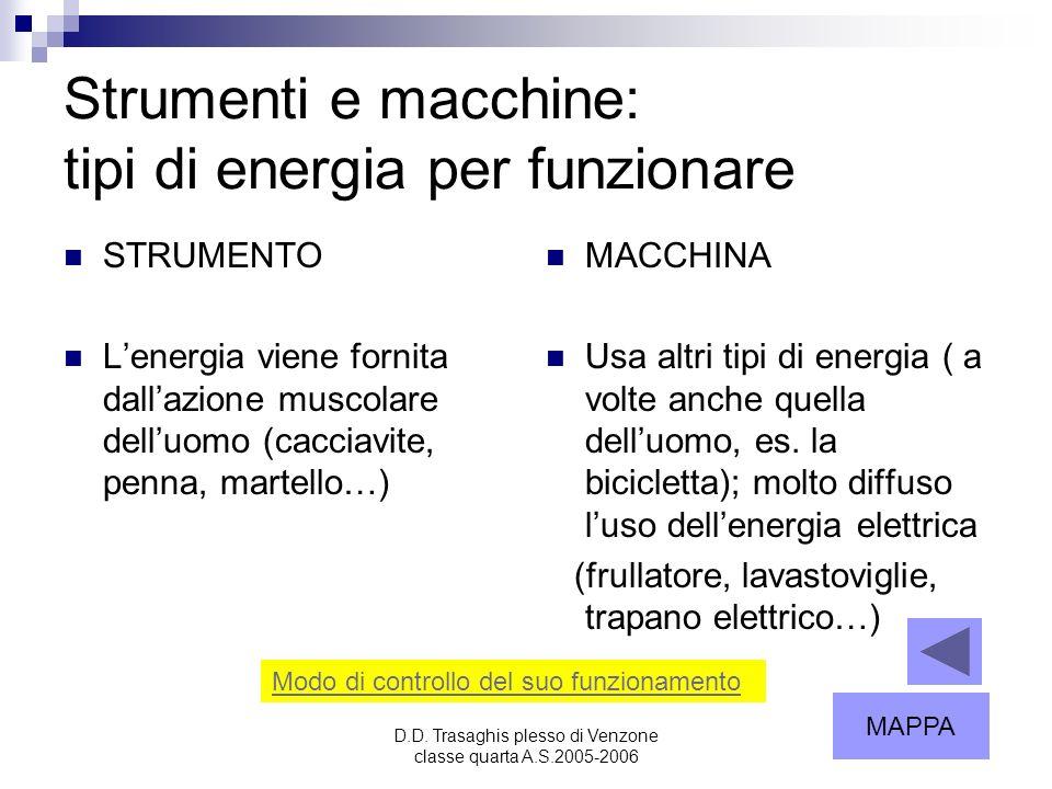 Strumenti e macchine: tipi di energia per funzionare
