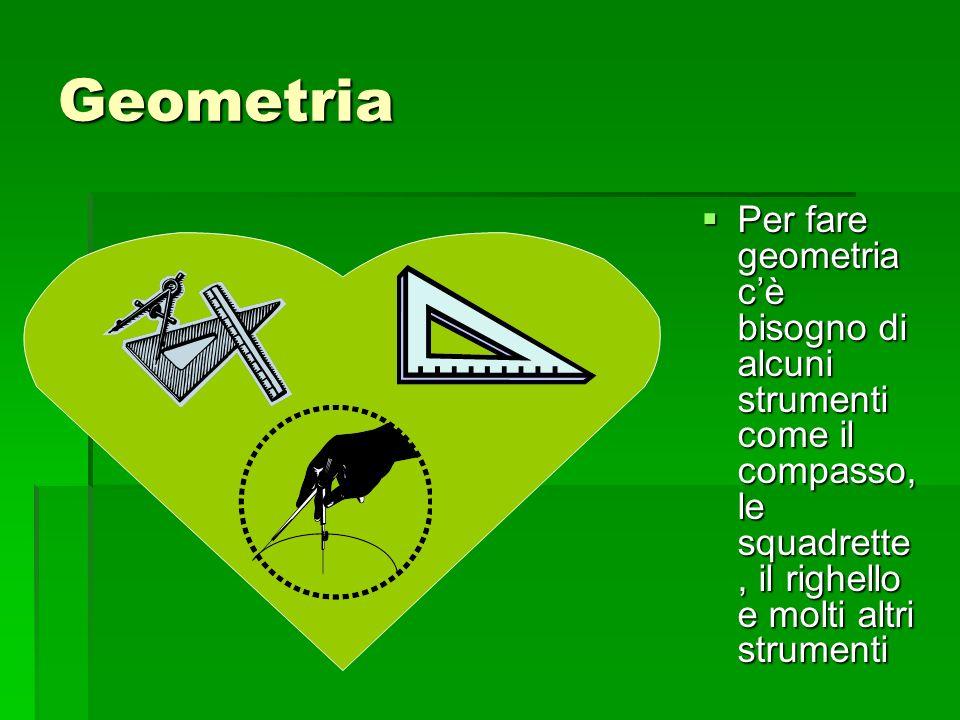 Geometria Per fare geometria c'è bisogno di alcuni strumenti come il compasso, le squadrette, il righello e molti altri strumenti.